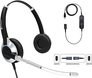 TruVoice デラックス ダブルイヤー ボイス チューブ ヘッドセット USBアダプターケーブル付き ミュートスイッチとボリュームコントロール付き PC、ソフトフォン、Skype、ビジネス用、Office 365、Avaya One-X、C...