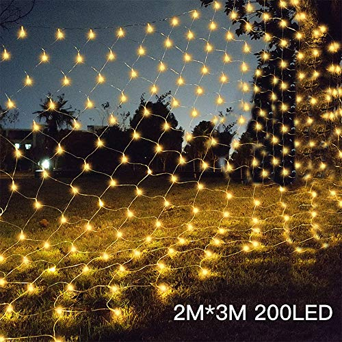 Silingsan LED Lichternetz -Leuchten 200 LED 3 x 2 m Lichtketten für Balkon Wohnzimmer Gartenterrasse 8 Modi für Weihnachtsfeiern Halloween Warmweiß [Energieeffizienzklasse A]