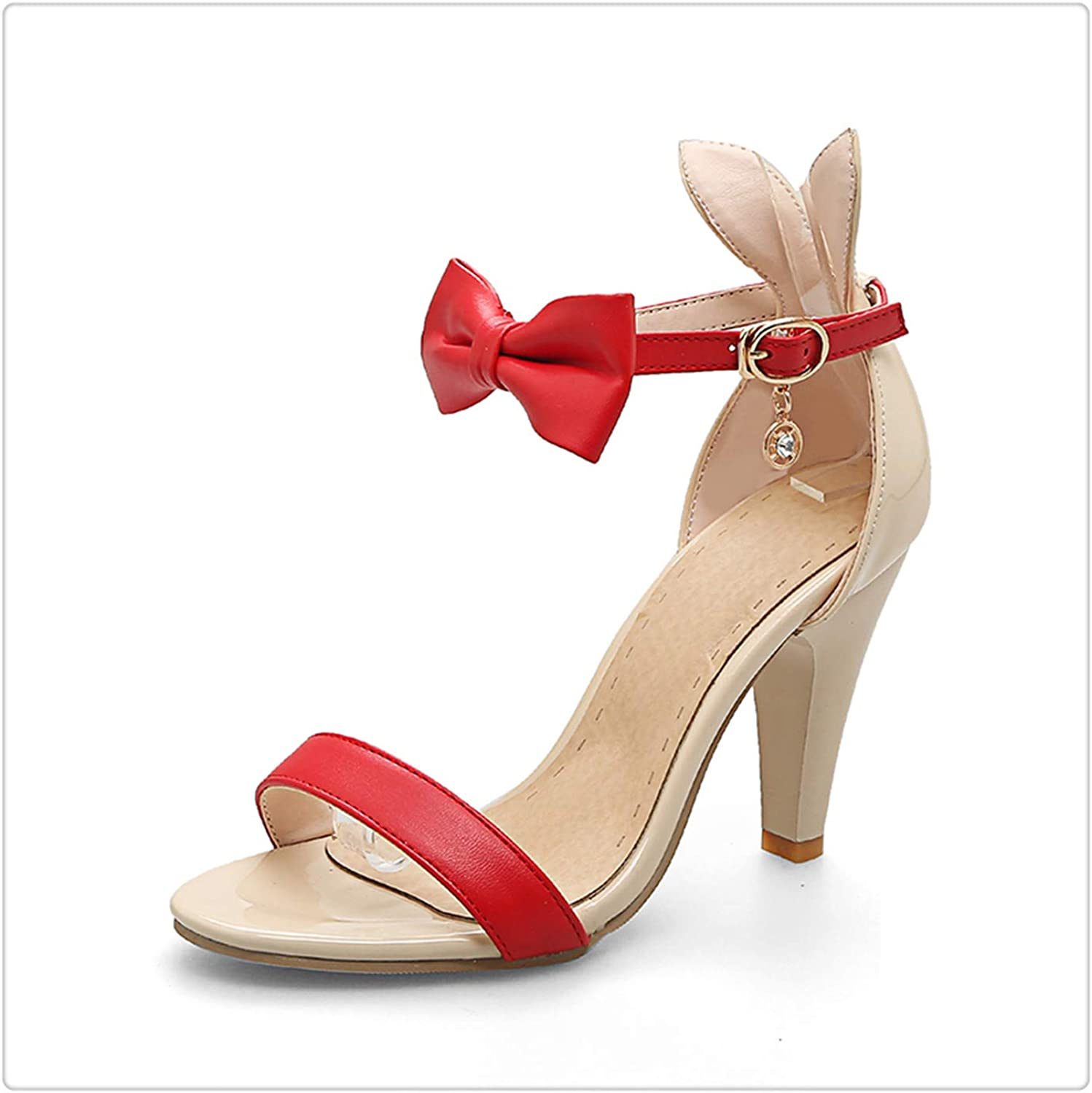Msanlixian Large Size 32-43 Sweet Bow Ankle Strap high Heels Summer shoes Sandal Mixed color Party Wedding Sandals Women Red 10.5
