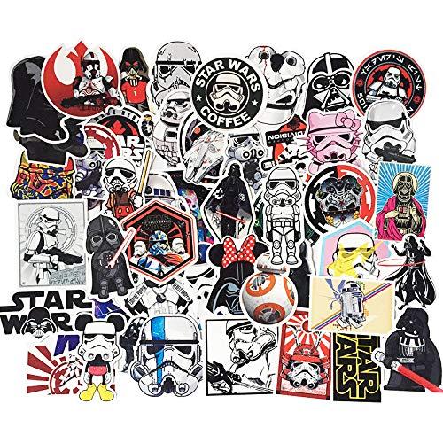 LYDP 50 pegatinas impermeables de Star Wars, para maleta, monopatín, guitarra, dibujos animados, graffiti, teléfono y ordenador