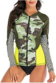 Women Two Piece Swimsuit with Long Sleeve, Ladies Beach Printed Tankini Swimwear Diving Suit