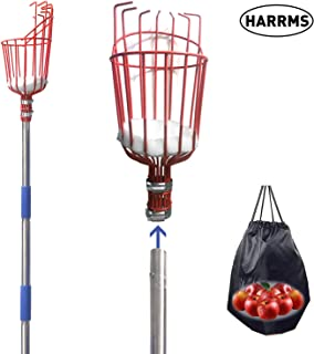 Harrms Fruit Picker Pole Tool, 5.5/8/13-Foot Fruit Picker with Lightweight Aluminum Telescoping Pole, Fruit Picking Equipment for Getting Fruits(8FT)