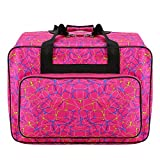Waterproof Canvas Sewing Machine Tote Bag Large Capacity Sewing Machine Storage Bag Travel Portable Sewing Machine Hand Bags Carrying Padded Storage Case with Pockets and Handle (Hot Pink)