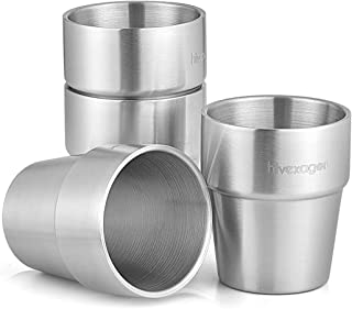 Xcellent Global 300ml Stainless Steel Tumbler Set of 4 Double Walled Cups - Perfect for Cold Drinks - Dishwasher Safe