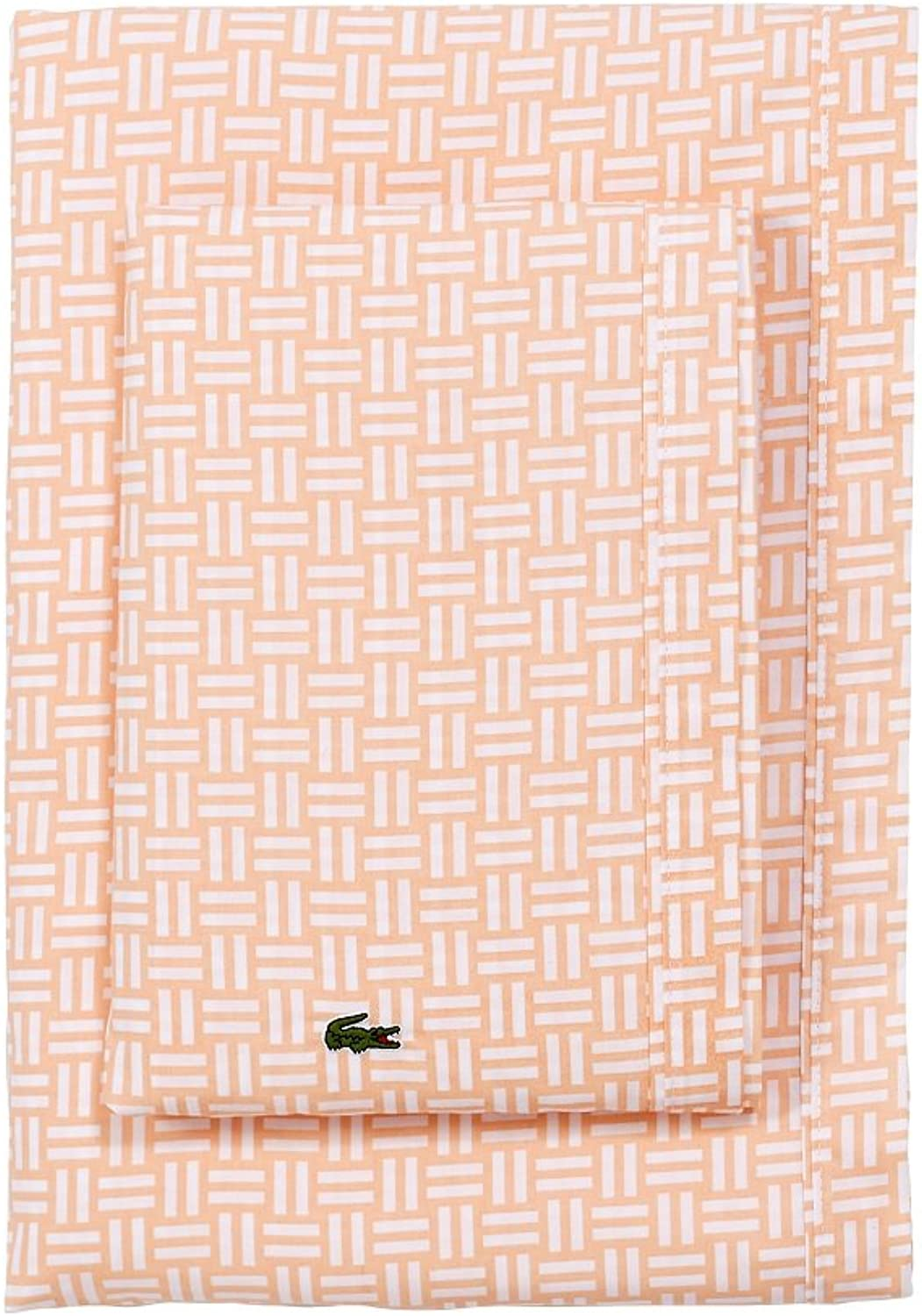 Lacoste 100% Cotton Percale Sheet Set, Basketweave Print, Iced Apricot, Full