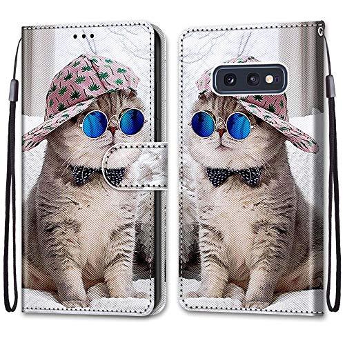 Nadoli Handyhülle Leder für Samsung Galaxy S10e,Bunt Bemalt Brille Katze Trageschlaufe Kartenfach Magnet Ständer Schutzhülle Brieftasche Ledertasche Tasche Etui