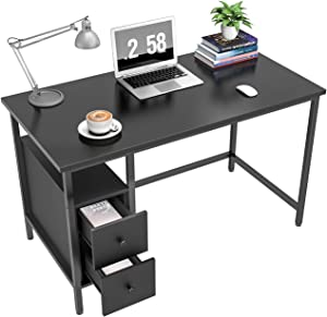 GIKPAL Computer Desk for Home Office, Study Writing Desk with 2 Drawers, Desk with Storage for Bedroom 47 inch, Black/Retro (Black)