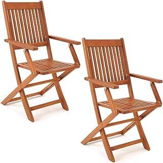 Deuba Set de 2 sillas Sydney Plegables de Madera de Acacia pre aceitada Conjunto de jardín con reposabrazos terraza