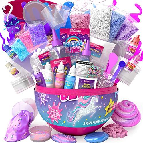 GirlZone Geschenke für Mädchen Schleim Kinder - Ei-Form Einhorn Fluffy Slime Kit für Kinder DIY - Alles in einem Tolle Ei, um viele Verschiedene Schleim herzustellen Selber Machen - Unicorn Egg
