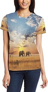 T-shirt voor vrouwen meisjes olifant zonsondergang landschap aangepaste korte mouw