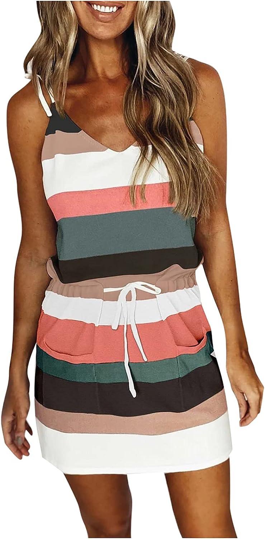 INNOVIERA Casual Summer Dresses for Women,Stripe Print V Neck Sleeveless Strap Mini Dress Casual Tank Dress with Drawstring