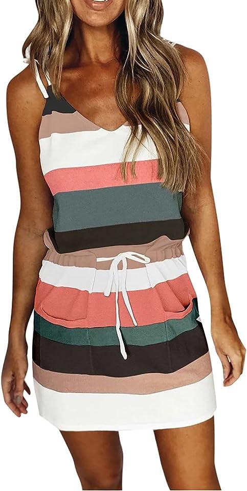 Alvinm Damen Kleid mit V-Ausschnitt Elegant Kurze Strand Freizeitkleider Sommerkleid Streifen Loose T-Shirt Kleid Minikleid