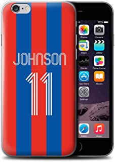 Personalized Custom Soccer Club Jersey Shirt Kit Case for Apple iPhone 6S / Red Blue Stripes Design/Initial/Name/Text DIY Cover