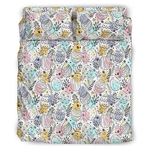 Elucassi Juego de sábanas de 4 piezas de Pascua, lujosas sábanas transpirables y resistentes a las manchas para el hogar, dormitorio, 175 x 218 cm