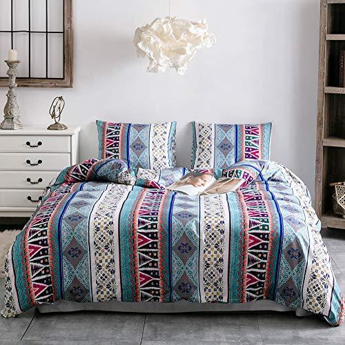 Juego de ropa de cama Boho, 135 x 200 cm, microfibra, funda nórdica cálida y transpirable, con cremallera y 2 fundas de almohada de 80 x 80 cm (ABL135 x 200-4 t)