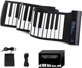 YOI Vocal MI004 ロールピアノ 88鍵盤 MIDI ハンドロールピアノ 電子ピアノ Bluetooth機能 128種類音色 14曲模範曲 128種リズム マイク内蔵 USB 持ち運び フットペダル付き イヤホン/スピーカー対応 初...