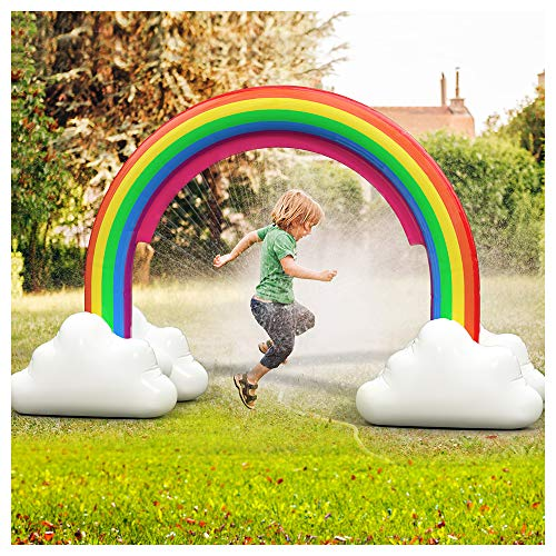 ENJSD Large Inflatable Rainbow Arch Sprinkler, Large Water Sprinkler Outdoor Water Toys for Toddlers, Outdoor Rainbow Sprinkler Toys for Birthday Party Festival