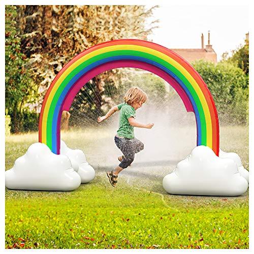 ENJSD Large Inflatable Rainbow Arch Sprinkler, Large Water Sprinkler...