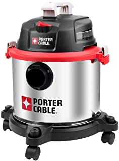 Porter-Cable 5 Gallon Wet Dry Vacuum, 4 Peak HP Stainless Steel 3 in 1 Shop Vac Blower with Powerful Suction, Multifunctional Shop Vacuum W/ 4 Horsepower Motor for Job Site,Garage,Basement,Workshop