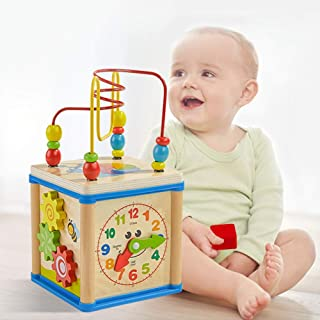 Sanwooden Toy Gift Activity Cube Toy Multifunction Wooden Beads Maze Shape Sorter Education Activity Cube Kids Toy Toys fo...