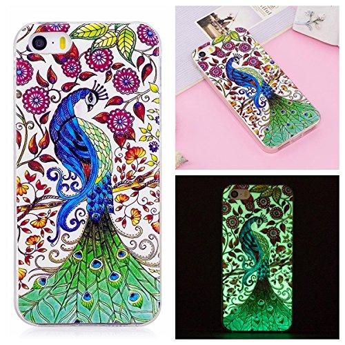 OnlyCase Cover per iPhone 5 / iPhone 5S, Premium Elegante Effetto Luminoso TPU Morbida Silicone Gel Elegante Custodia con,Nottilucente Verde Glow in The Dark Custodia Antiurto, Pavone