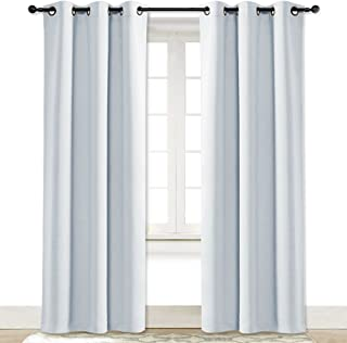 NICETOWN Cloud Grey Window Curtain and Drape Easy Care Solid Thermal Insulated Grommet Room Darkening Drapery for Kid's Room (1 Panel, 42 by 84)