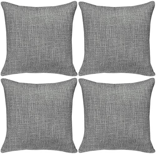 Best Faylapa 4 Pack Soft Solid Colors Throw Pillow Cover,Dark Gray Decorative Woven Stripe Pillow Case,Ho