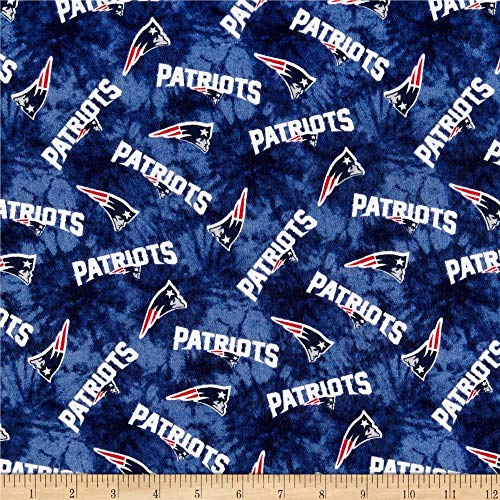 Traditions NFL Flannel New England Patriots Tie Dye Navy, Fabric by the Yard