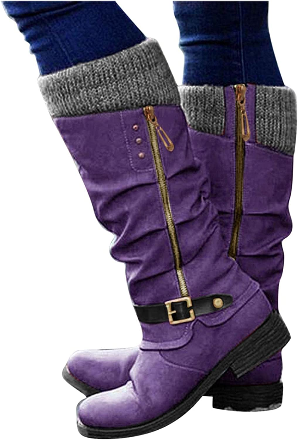 Gibobby Boots for Women Low Heel,Women's Fashion Casual Warm Round Toe Buckle Strap Cowgirl Booties Zipper Comfy Long Tube Boots