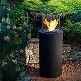 YQZ Chimenea de Alcohol, Calentador de etanol, Fuego Real, Paisaje, Chimenea Interior al Aire Libre con Cubierta de Vidrio a Prueba de Viento