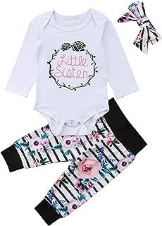 Newborn Baby Girls Little&Big Sister Matching Family Long Sleeve Romper/T-Shirt+Floral Long Pants+Headband Outfits