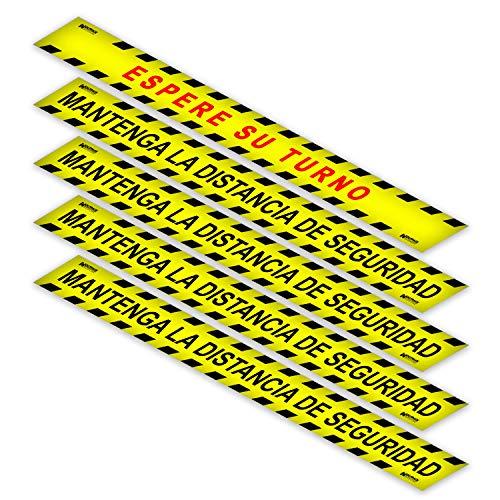 WOLFPACK LINEA PROFESIONAL Rotulacion Suelo Distancia Seguridad y Turno. Pegatinas Señalizacion. 5 Unidades Rectangulares, 10 x 100 cm