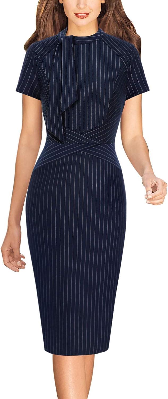 Vfshow Womens Tie Neck Slim Work Office Business Cocktail Bodycon Pencil Dress