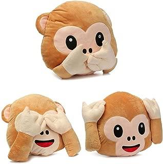 BestOfferBuy Set of 3 Emoji See Hear Speak No Evil Monkey Pillow Cushion Plush Stuffed Toy