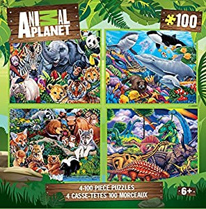 MasterPieces 4-Pack Kids 100 Puzzles Collection - Animal Planet 4-Pack 100 Piece Jigsaw Puzzle from Masterpieces Puzzle Co