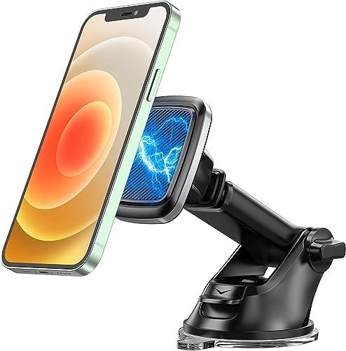 Bovon Support Téléphone Voiture, [Montage Stable] 360° Rotation Porte Téléphone Voiture Magnétique sur Tableau de Bor...