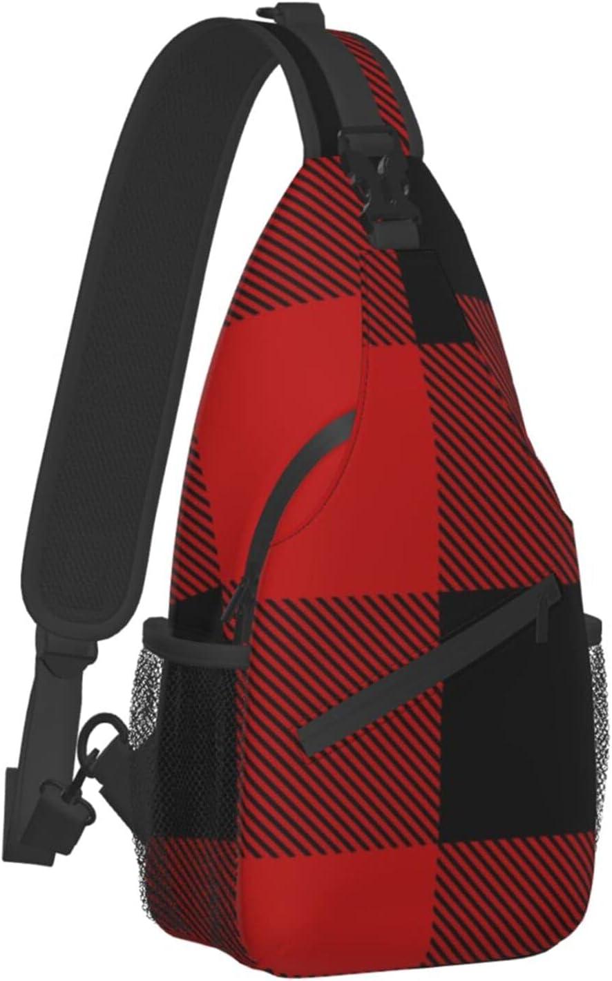 Sling Backpack Travel Hiking Daypack Rope C Lumberjack Plaid Max wholesale 55% OFF Red