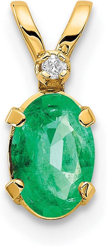 14k Yellow Gold Diamond & Emerald Birthstone Pendant 12 mm x 4 mm (0.008 cttw, I2 Clarity, I-J Color)