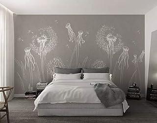 Duvarkapla Beyaz Ahtapot ve Karahindiba Duvar Resimleri Yatak Odası Gri Arka Plan Çocuk Çalışma Odası için 3 Boyutlu Duvar...