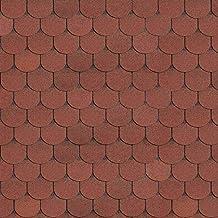 1m2 Lot de 7 bardeaux de toit en forme de cerf Rouge brique bitume