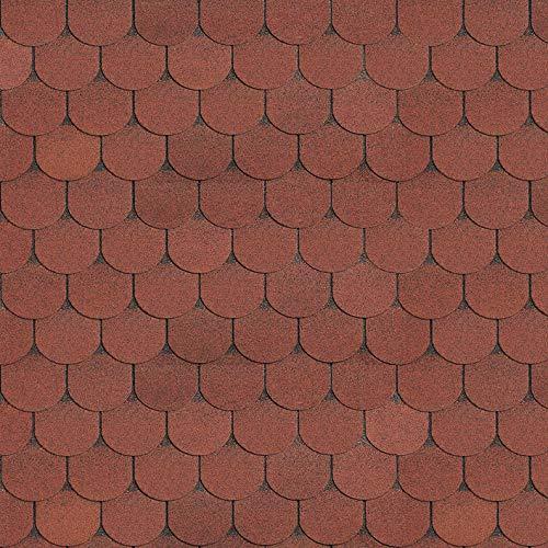 Bitumen Dachschindeln, 0,333m x 1m, Biberschwanz ziegelrot, 21 Stück (für 3m² Dachfläche) Bitumenschindeln Dachpappe