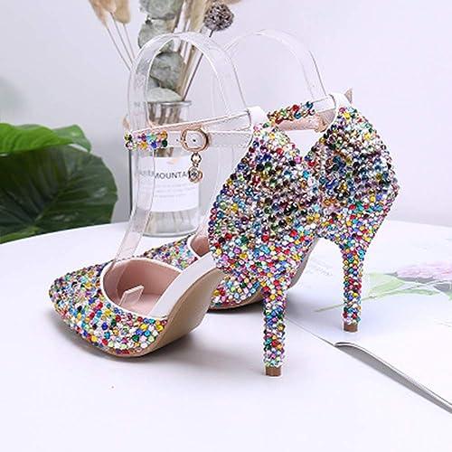 XWDQ Chaussures de Mariage en Cristal de de Diamant de Couleur Nouvelle à Talons Hauts de Bouche Bouche Peu Profonde a souligné High Heels  les dernières marques en ligne