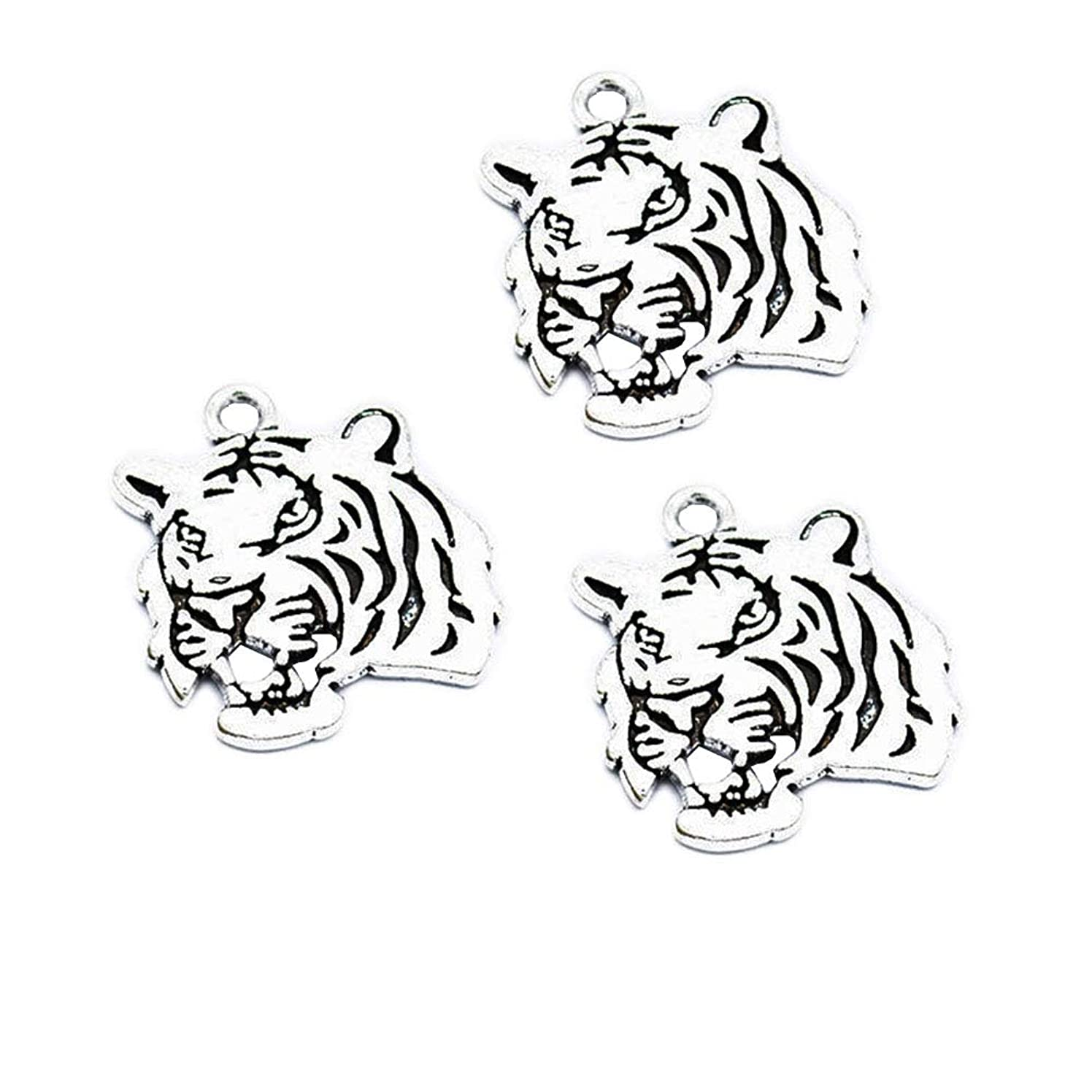 30pcs Vintage Antique Silver Alloy Animal Tiger Head Charms Pendant Jewelry Findings for Jewelry Making Necklace Bracelet DIY 27x24mm (30pcs Tiger)