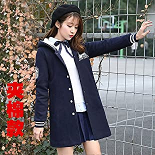 Xuanku The Jacket During The Spring And Autumn Season Autumn And Winter Sweater, Long, Thick Girls Junior Windbreaker ,Xl, Navy Blue Cloth, 051.:Schedulingsoftware
