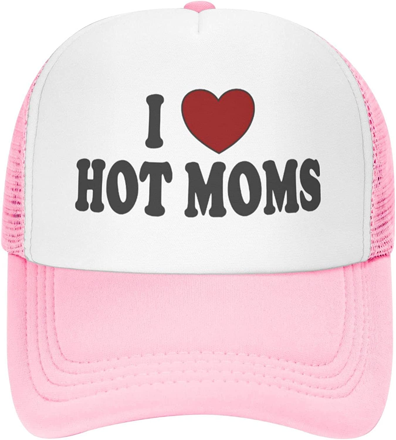 Unisex Baseball Cap I Heart Hot Moms Fitted Hat Adjustable Snapback Fashion and Comfortable,Funny