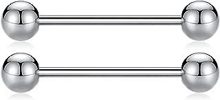 Pair 14G 16G G23 Solid Titanium Nipple Shield Barbell Internally Threaded Tongue Piercing