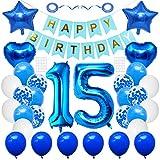 Huture 15 suministros fiesta cumpleaños azul número 15 papel aluminio globo feliz cumpleaños decoración 15 cumpleaños blanco azul látex confeti globo estrella globo regalo para niñas niños cumpleaños