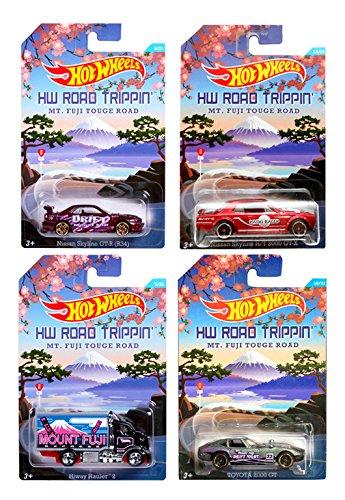 Hot Wheels Road Trippin \'Series MT. Fuji Touge Road Drifter Set de 4 - Monte Fuji Express Higway Hauler, Nissan Skyline H/T 2000 GTX, Nissan Skyline (GT-R (R34), Toyota 2000 GT