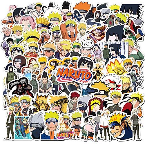 DIWSO Pegatinas de Naruto (100 Piezas) Pegatinas de Anime Japonesas Pegatinas de Vinilo Impermeables Pegatinas de Equipaje de Monopatín para Niños Adolescentes Adultos para Botellas