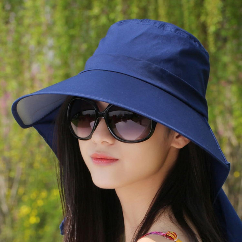 KTYX Sun Hat Sunscreen Big UV Predection Sun Visor Bike Straw Hat Beach Hat Summer Hat (color   Dark bluee, Size   58  10  13cm)